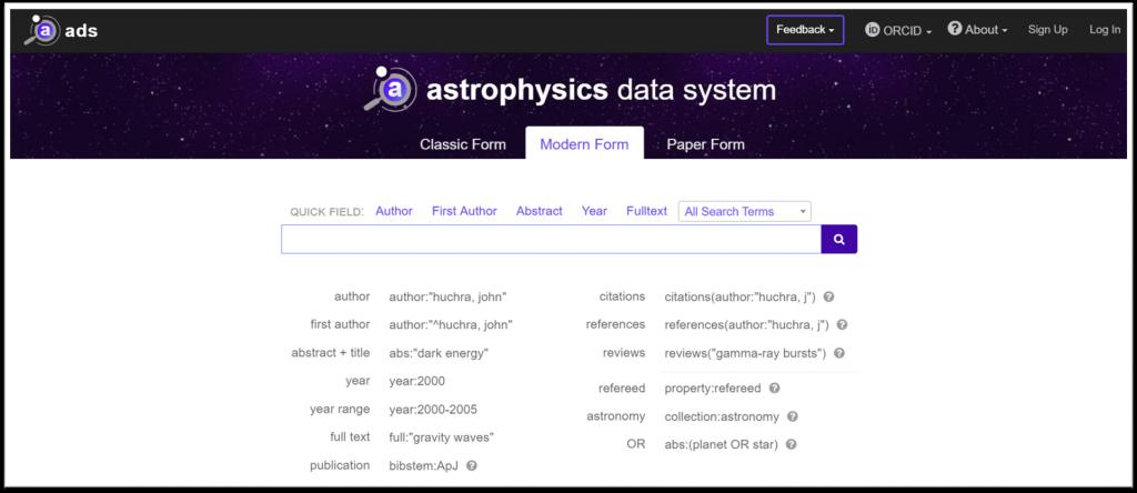 Astrophysics database